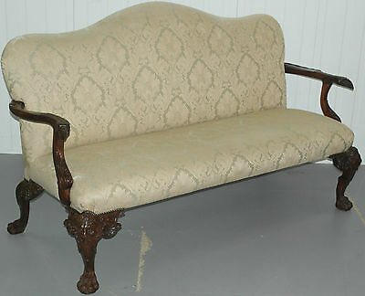 Antique George Ii Irish Style Hand Made Settee Lion Carver Hairy Paw Legs Sofa