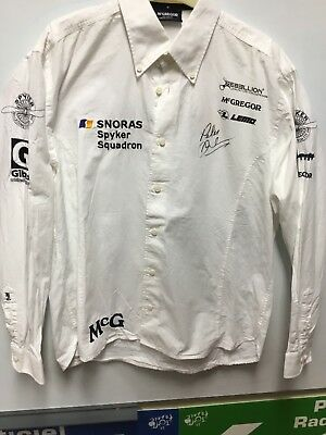 Genuine Hand Signed Peter Dunbreckpersonal Team Shirt Spyker Squadren Le Mans