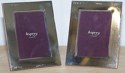 Pair Of Rrp £1270 Asprey London Crosshatch Sterling Silver Picture Frames