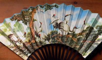 Lovely Vintage Japanese Bamboo and Paper Folding Fan with Crane Detail