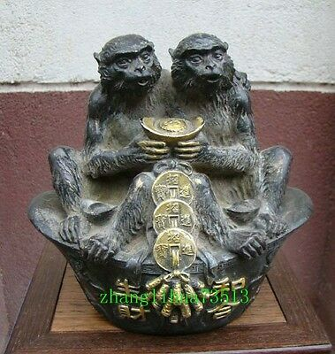 """7"""" Collectible Statue Monkey Coin Copper Bronze With Gilding Deco Art"""