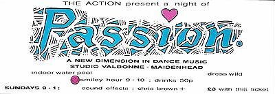 Passion - Rave Flyer 1988 - Acid House Warehouse Balearic Beats Tommy Mack RARE