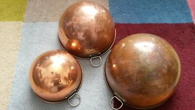 "Vintage set of 3 nesting copper chef's bowls - approx 8"", 7.5"" & 6"" vgc"