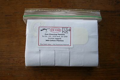 RIFLE GUN COTTON CLEANING PATCHES FOR .22, .223 & .22-250 CAL , 300 Qty.