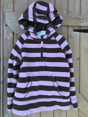 Boden Girls Fleece Hoodie Pink & Brown Striped 5-6y