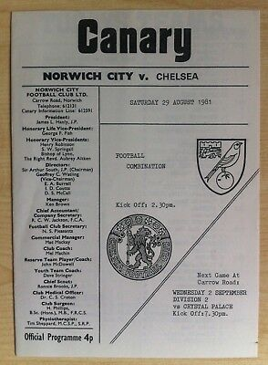 Norwich City Reserves v Chelsea Reserves - 29th August 1981