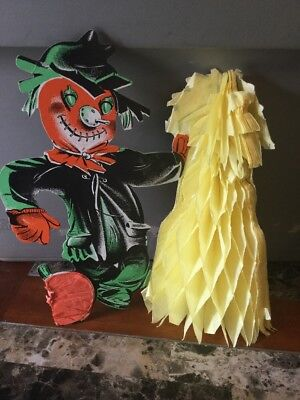 Vintage Halloween Decoration Beistle Co. Scarecrow W/ Paper Corn Stalk