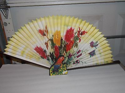 CHINESE Wall Fan Painted Wood Parrot Graphic
