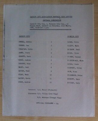 Cardiff City Reserves v Norwich City Reserves - 21st March 1981