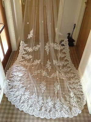 A Beautiful Brand New Ivory Lace Veil 3 Metres...