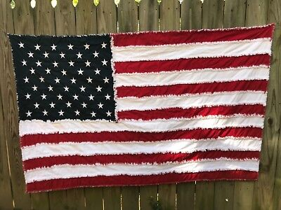 American flag rag quilt with embroidered stars (handmade)