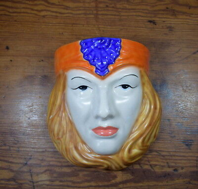 Art Deco Style Ceramic Lady's Head / Face Wall Pocket
