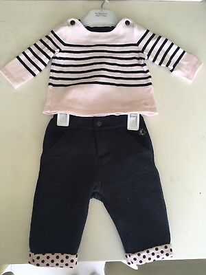 Petit Bateau Pink And Blue Immaculate Set 3/6 Months
