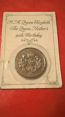 Royal Mint 1990 £5 Coin Pack - Queen Mothers 90th Birthday Five Pound Crown Coin