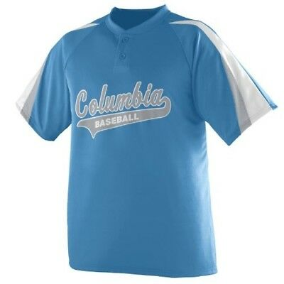 (Adult Small, Columbia/White/Silver) - 3-Coloured Sleeve 2-Button Jersey