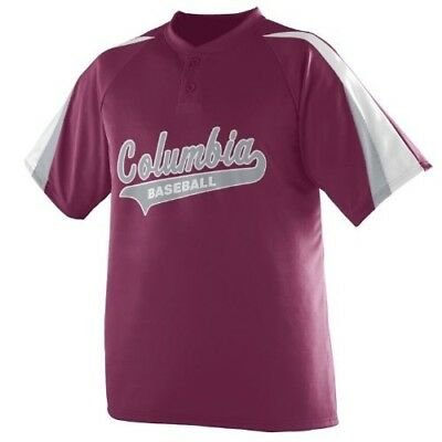 (Adult Small, Maroon/White/Silver) - 3-Coloured Sleeve 2-Button Jersey