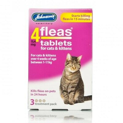 Johnsons 4 Fleas For Cats 3 Tablets Box