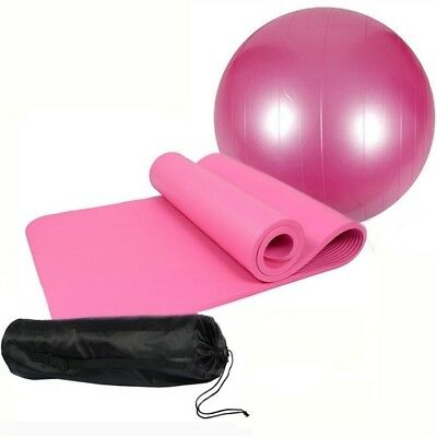 (65cm ball, Pink) - Extra Thick Non-slip Yoga Mat(10mm) + 1 Yoga Fitness