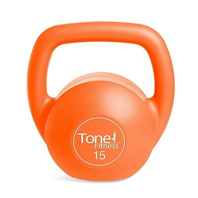(Orange- 15 Pound) - Tone Fitness Kettlebell. Shipping Included