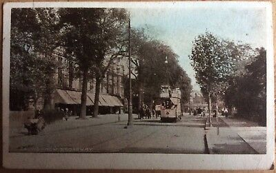 Antique Pc View Of Tram On New Broadway Ealing Middlesex Tree Lined Sargeant