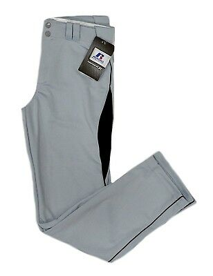 (Adult Medium, Gray/Black) - Russell Baseball Pants with Mesh Details (Youth