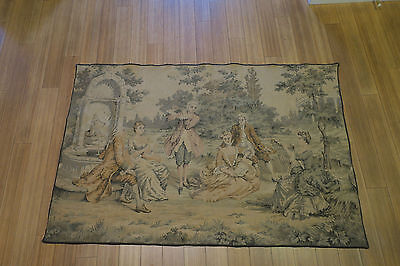 """Antique TAPESTRY 36""""x54"""" Made in France circa 1880 MUSICIANS"""