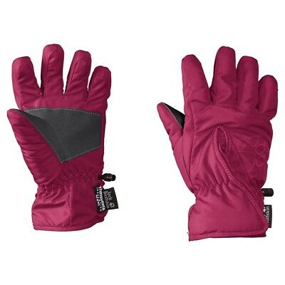 (152, Red - Azalea Red) - Jack Wolfskin Kids Easy Entry Gloves. Free Delivery