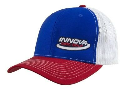 (Blue/Red/White) - Innova Logo Adjustable Mesh Disc Golf Hat. Shipping Included