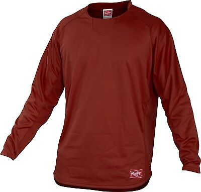 (Small, Cardinal) - Rawlings Youth Dugout Fleece Pullover. Delivery is Free