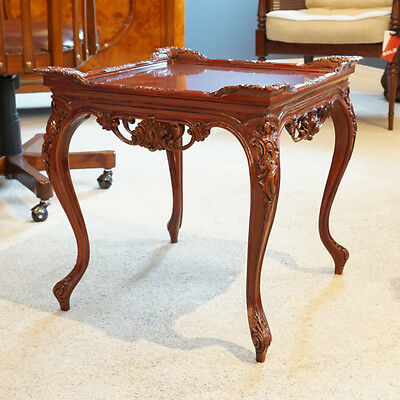 Mahogany Hand Carved Ornate Traditional side table