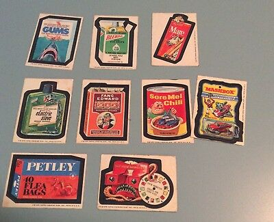 1975 Topps Wacky Packages- 15th Series- 9/30 Cards- WHITE BACKS