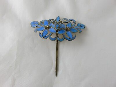 Antique Chinese Kingfisher Feather Hair Stick Pin Ornament