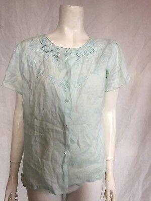 1940s 1950s Linen Blouse Hand Embroidered