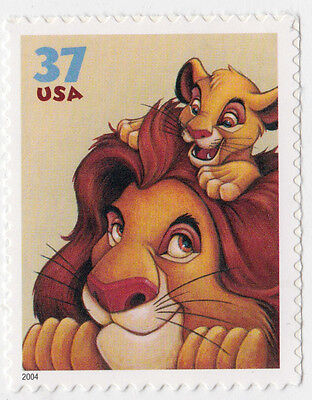 LION KING MUFASA SIMBA Art of DISNEY Friendship STAMP Unused 2004 US Postage NEW