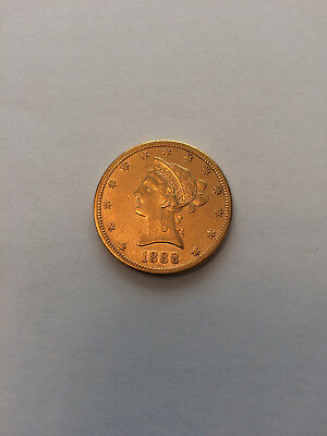 1888 S $10 LIBERTY HEAD GOLD COIN (Almost Uncirculated)
