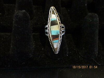Vintage S/w Style Sterling Silver, Turquoise, Pearl Long Ring