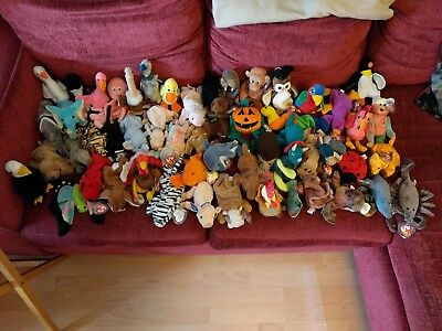 52 x TY Beanie Babies - Good Condition with Hard Plastic Tag Covers - NO RESERVE