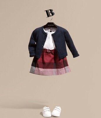 Burberry Baby Girls Blue Cotton Knit Cardigan -12mths