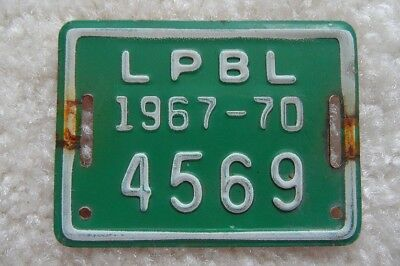 INDIANA 1967-70 BICYCLE LICENSE PLATE FROM LaPORTE - LOOK
