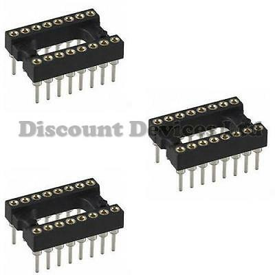 3x DIL-16/DIP16 Quality Precision/Turned PIN Open Frame PCB 16 Way IC Socket