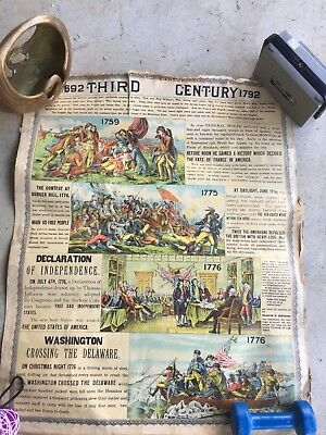 Vintage antique double sided F.M. Woods American school chart company double