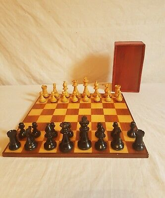 vintage staunton chess set - 7.5cm kings - felt bottoms - comes with board
