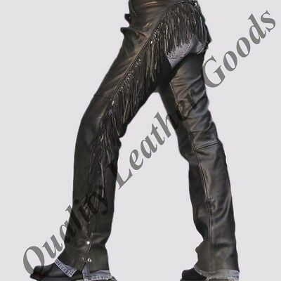 100% Genuine Leather Fringed Women Chaps Back Lacing Motorcycle  Biker