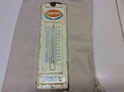 Antique rustic SHUR-GAIN thermometer- BLACKSTOCK & PORT PERRY !