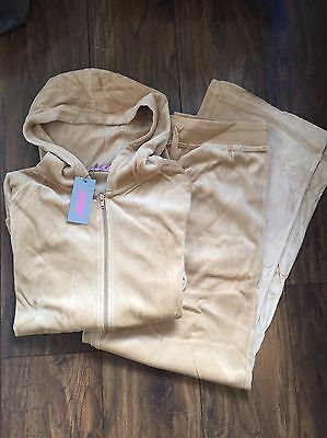 Ladies Velour Tracksuit In Champagne/Beige Size 16