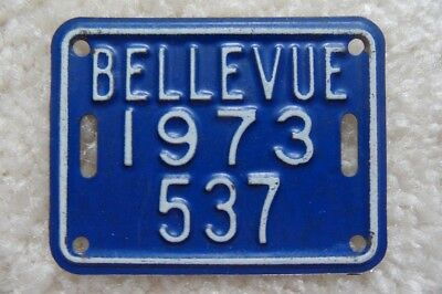 Washington 1973 Bicycle License Plate From Bellevue - Look