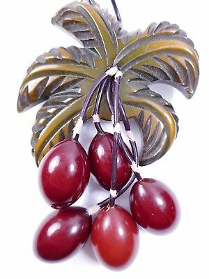 Vtg Carved & Painted BAKELITE Leaf & Dangle Red Fruit Berry Brooch Pin 1940s