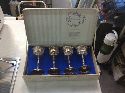 Vintage ,cavalier ,silver Plated Reproduction Georgian Goblets X 4 ,in Box
