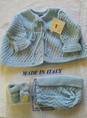 Vintage NOS Baby Boy Layette Set blue knit Sweater, Cap; Baby Deer Booties Foley