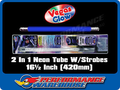 2 IN 1 NEON TUBE WITH STROBES BLUE PULSES TO MUSIC 16½ INCH 420mm CAR UTE BOAT